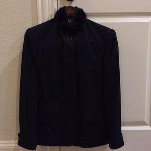 Ralph Lauren Black Wool Jacket with Faux Fur Trim